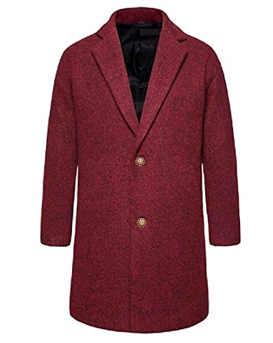 Men Overcoat Wool Blend Single-Breasted Mid Length Slim Top Coat
