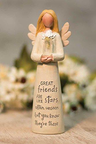 Friend Like Stars Angel with Flowers 2 x 5 Inch Resin Tabletop Figurine