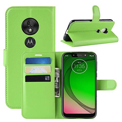 HualuBro Motorola Moto G7 Power Hülle, Premium PU Leder Stoßfest Klapphülle Schutzhülle HandyHülle Handytasche Wallet Flip Hülle Cover für Motorola Moto G7 Power Tasche (Grün)