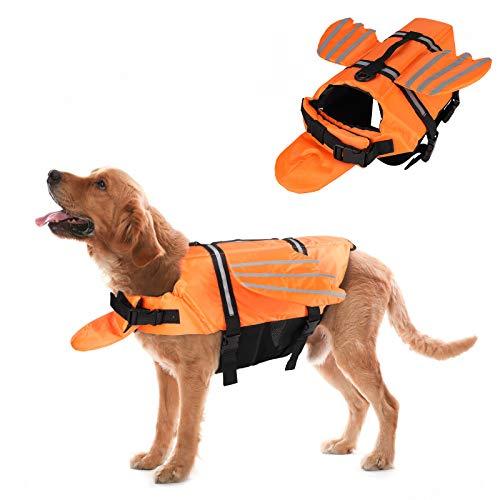 FREESOO Chaleco Salvavidas para Perro Chaleco Reflectante Perros Ropa de Seguridad Chaqueta Chaleco de Natación Chaleco de Flotación para Perros con Asa Cinturón Ajustable (Naranja)