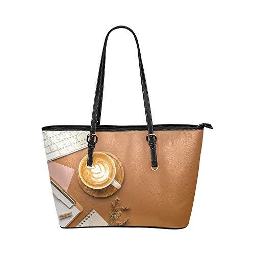 Yushg Leckerer affektiver Kaffee Große weiche Leder Tragbare Top Hand Totes Taschen Kausale Handtaschen mit Reißverschluss Schulter Einkaufstasche Geldbörse Organizer für Dame Girls Womens Work