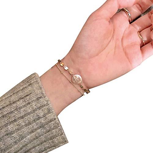 WFZ17 Pulsera ajustable de doble capa de cobre con diamantes de imitación para mujeres y niñas