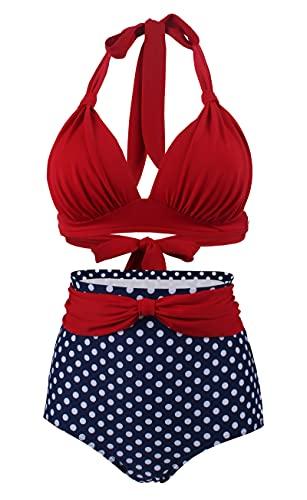 LA ORCHID Laorchid Bikini 2 pièces dos nu sexy taille haute bikini 2 pièces Maillot de bain Push Up, Rouge à pois bleus, 42