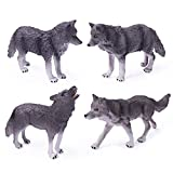 4pcs Wolf Toy Figurines Set Wolf Animal Figures White Wolf Family Cake Topper Toy Gift for Kids (4pcs Grey Wolf Family)