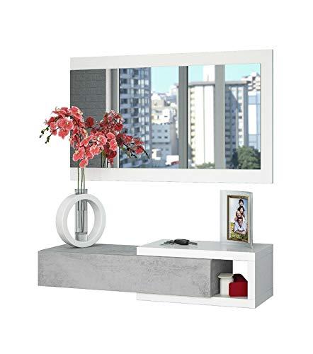Mobile Maiorca Mobiletto da Ingresso Sospeso con Cassetto Mensola e Specchio Arredo Arredamento Sala 81 x 116 x 29 cm Colore Bianco Lucido e Grigio Cemento