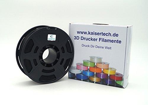 Kaisertech Filament für 3D Drucker 1kg PLA/ABS 1.75mm/3mm - Premium Qualität & verschiedene Farben für MakerBot RepRap MakerGear Ultimaker uvm. (PLA 1.75mm, Schwarz)