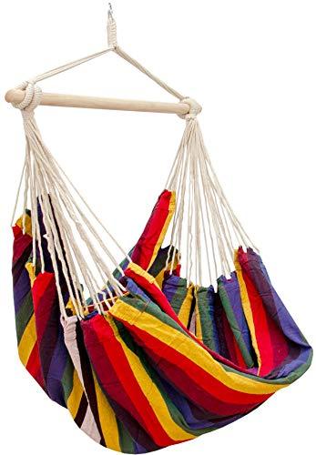 AMANKA Hamaca XXL para Toda la Familia | Asiento suspendido 190x140cm | 100% algodón | Hamaca para el jardín Peso máximo soportado 150 kg | Color Arco Iris