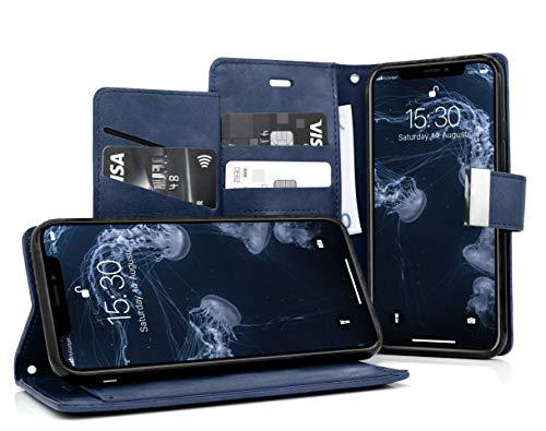 MyGadget Funda Flip Cierre Magnético para Apple iPhone X XS en Cuero Sintético PU - Carcasa Tarjetero con 5 Bolsillos y Soporte Plegable Anti Golpes - Azul