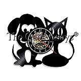 xcvbxcvb Clínica Veterinaria LED luz de Noche Perro Gato Animal Chico habitación Vintage Ornamento Vinilo Reloj de Pared