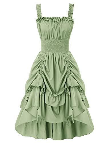 SCARLET DARKNESS Damska sukienka o linii A, bez rękawów, wysoka niska sukienka, sukienka koktajlowa, sukienka na imprezę, Jasnoszary zielony, XXL