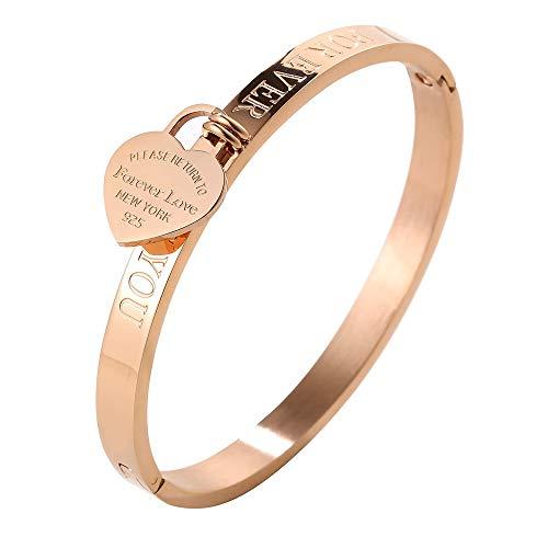 ❤Forever Love Gift❤ JINHUI Jewelry 18 K Rose Gold/ Gold Bangle Bracelet Heart Pendant Forever Love Letters Engraved Bangle Bracelet for Women Size 6.5'' (Gold)