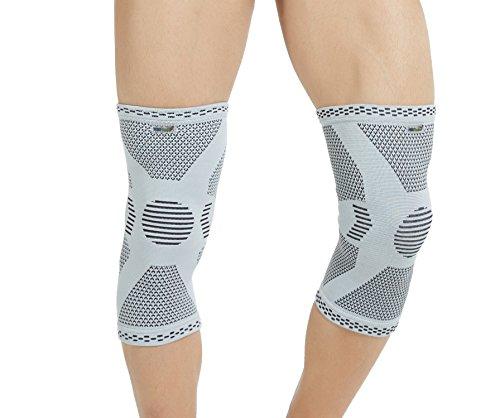 Neotech Care - Stützende Kniebandage aus Bambusfaser (1 Paar) - leichtes, elastisches, bequemes & atmungsaktives Material - für Damen, Herren & Jugendliche - rechts oder links tragbar - Grau - L