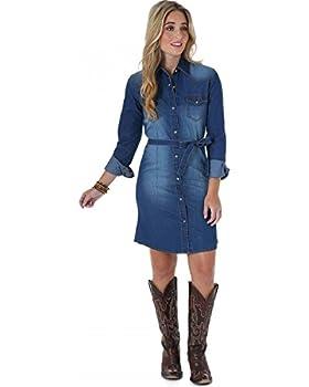 Wrangler Women s Long Sleeve Shirt Dress Dark Denim Medium