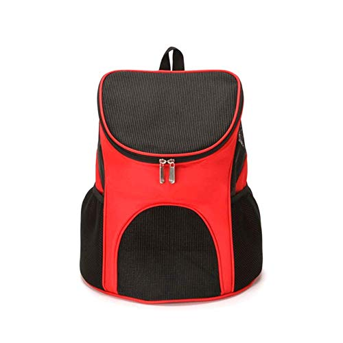 Pet Backpack, Outdoor Cat Dog Puppy Travel Carrier Ventilated Mesh Double Shoulder Bag (Red)