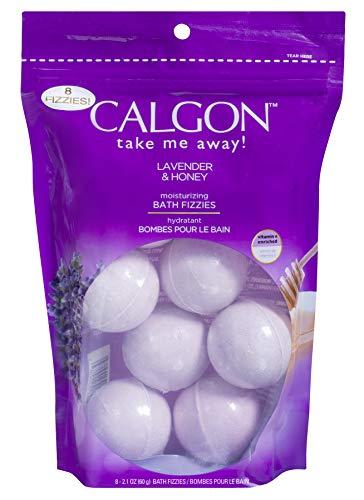 Calgon Take Me Away! Lavender & Honey Moisturizing Bath Soak Fizzies Bombs 8 - 2.1 Oz Balls