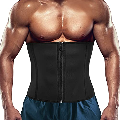 RACELO Men Waist Trainer Trimmer Sauna Tummy Control Corset Belly Sweat Belt Body Shaper Back Support (Black Waist Cincher, S)