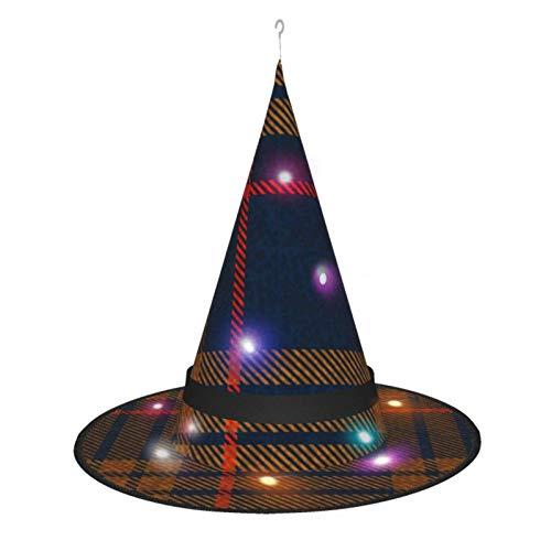 leyhjai Sombrero de Bruja de Halloween para Mujer, Gorra a Cuadros Retro de tartn Azul Marino para Fiesta, Disfraz de Cosplay, Accesorio Diario