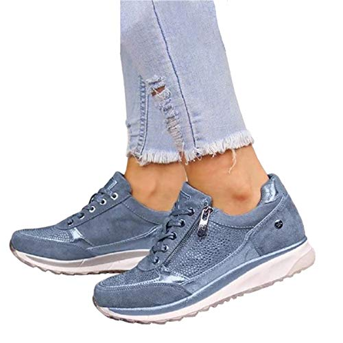 Zapatillas De Deporte De La Pendiente De Las Mujeres, Zapatos Deportivos De Plataforma De Fitness De Moda Al Aire Libre, Cremallera Doble Suave, Ropa Informal Y Cotidiana (muchos Colo(Size:42,Color:C)