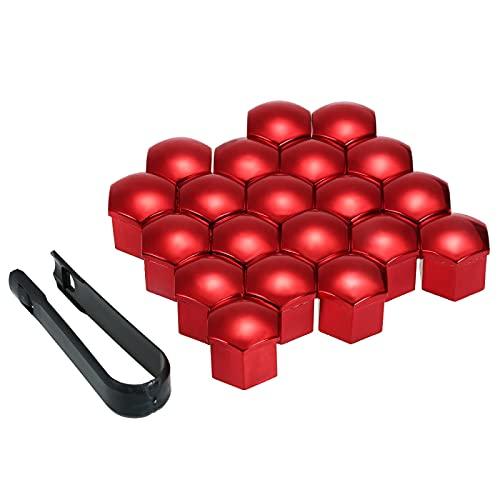 MZWNQ Tapa de Tuerca de Rueda Nuevo 20 Piezas Universal 17mm Tapas de Tuerca de Rueda Tapas de Tuerca de orejeta Protector de Tornillo Accesorios de Coche (Color : Red)