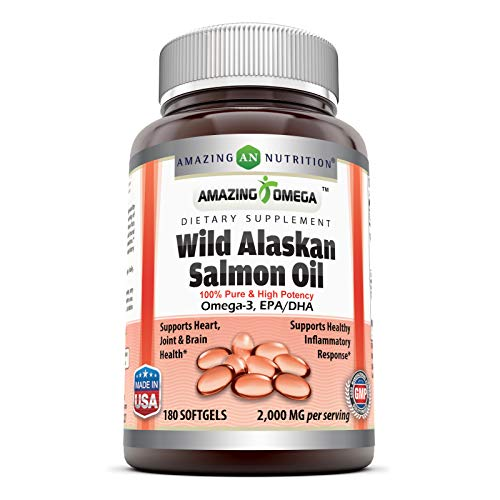 Amazing Omega Wild Alaskan Salmon Oil - 2000 mg of Salmon Oil Per Serving, 180 Softgels (Non-GMO) - Supports Heart, Joint  Montana