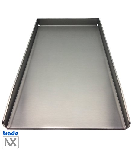 tradeNX Stainless Steel Grill Plate - Solid Plancha & BBQ Accessories for Grilling Meat, Fish, Vegetables & Fruit - 44.5 x 26 cm