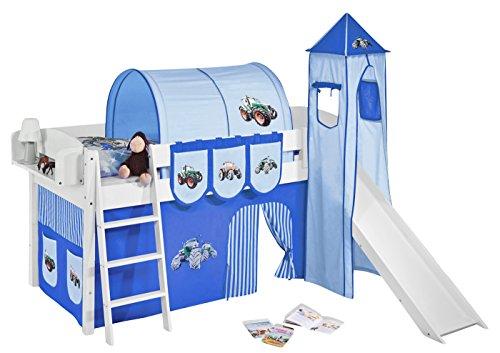 Lilokids Spielbett IDA 4105 Trecker Blau-Teilbares Systemhochbett weiß-mit Turm, Rutsche und Vorhang Kinderbett, Holz, 208 x 220 x 185 cm