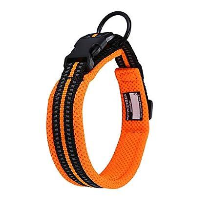 Collar para Perros Pequeños Grandes Medianos Reflectante Suave Acolchado Impermeable Ajustable Transpirable con Etiqueta de Nombre para Caminar Correr Trekking Entrenamiento (Naranja, S)