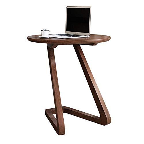Tables FEI - Bureau d'ordinateur Basse de Salon en Bois Massif d'appoint de canapé d'appoint Ronde pour Tablette de Rangement pour Tous Les postes de Travail