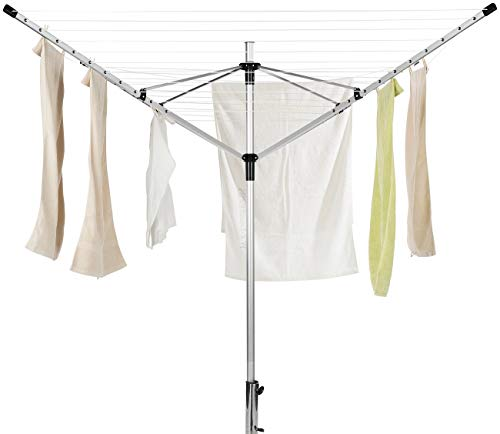 Royal Gardineer Wäscheständer: 4-Arm-Wäschespinne aus Aluminium, 60 Meter Wäscheleine, mit Bodenanker (drehbare Wäschespinne)
