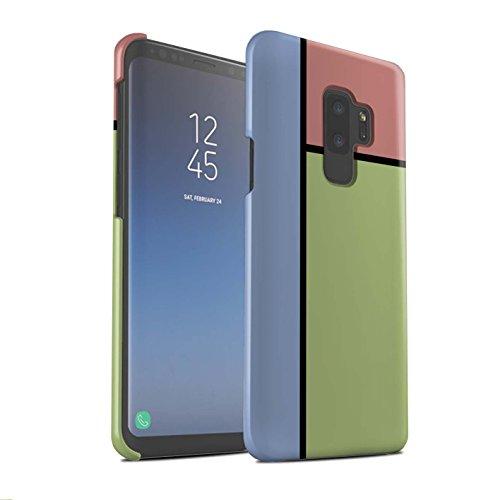 Stuff4® matte snap-on hoes/case voor Samsung Galaxy S9 Plus/G965/3 tegels/groen patroon/pastel tegelcollectie