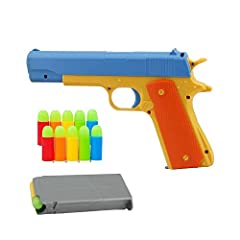 The Rubber Bullet Toy Gun is a fantastic 1:1 scale replica of an M1911 Colt 45. Featuring a 5 round removable magazine, spring loaded slide, and realistic magazine release button, this toy gun offers hours of fun and is perfect for costume play and d...