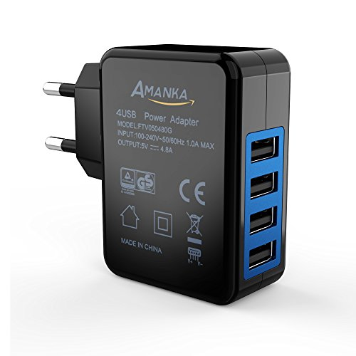 AMANKA Caricatore USB 24W, 5V 4,8A Caricatore da Muro Portatile Adattatore da Viaggio Alimentatore USB con 4-Porta USB Adattatori - Nero
