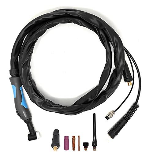 ELCAN Antorcha de soldadura TIG SR26 de 4 metros con conector 35-50 instalado y conector 10-25 extra, pistola o torcha soldar para máquina inverter con alta frecuencia