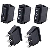 Twidec/5Pcs Rocker Switch 3 Pins 3 Position ON/Off/ON AC 6A/125V 10A/250V SPDT Car Boat Black Rocker Switch Toggle(Quality Assurance for 1 Years)KCD3-103