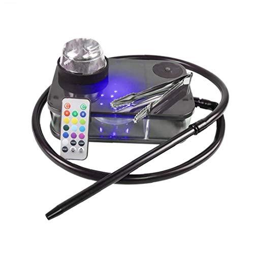 LAANCOO Moderne Acryl Huka komplette Kit Portable Shisha Nargile Rauchen Wasserpfeife mit Fernbedienung LED-Licht-Box (schwarz) für den Winter Valentinstag Mopther Tag Uses