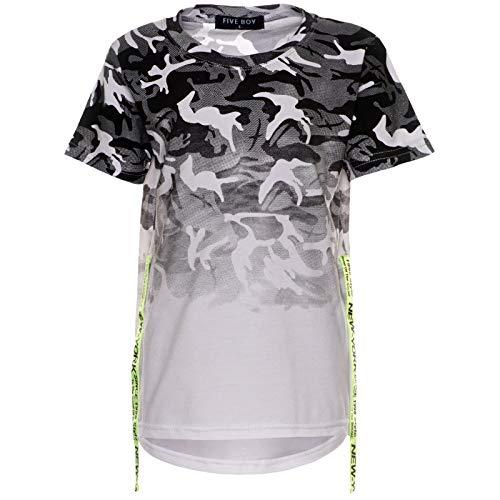 Jungen Camouflage T-Shirt Kinder Rugby Shirt Bluse Kurzarm Stretch Farben 21761 Weiß 140
