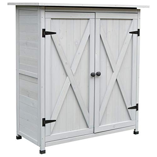 Outsunny Garden Shed Wooden Garden Storage Shed Fir Tool Cabinet Organiser with Shelves Double Door - 110L x 55W x117Hcm Grey