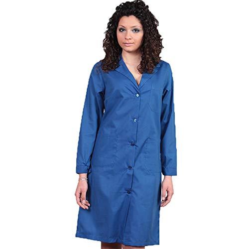 Damen-Kittel aus Baumwolle, für Kosmetikerinnen, für die Reinigung der Schule, Kolonial, hergestellt in Italien, Blau 38