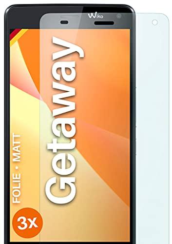 moex Schutzfolie matt kompatibel mit Wiko Getaway - Folie gegen Reflexionen, Anti Reflex Bildschirmschutz, Matte Bildschirmfolie - 3X Stück