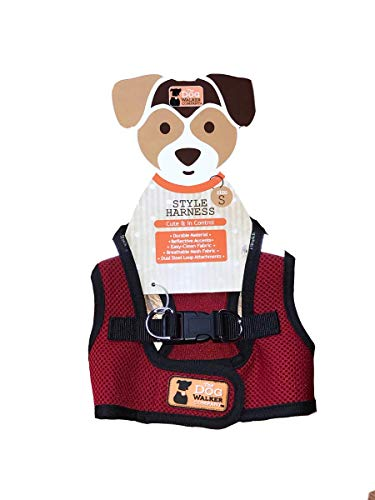 The Dog Walker Company Reflector Accent Harness Small Dogs 4-5lbs. (Red with Black Trim)