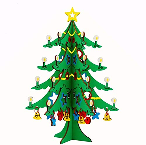 3D Wooden Puzzle Hands Craft DIY Christmas Tree for Kids and Adults Safe and Non-Toxic Easy Punch Out Premium Wood Home Office Table Decor (Christmas Tree)