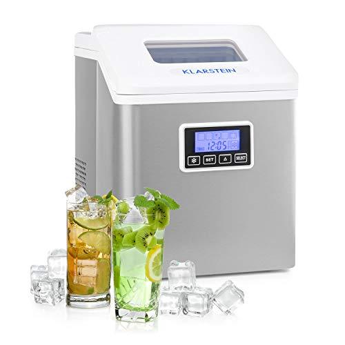 Klarstein Clearcube LCD máquina de hielos – hielo claro, 15-20 kg de hielo al día, deposito de agua de 2,5 l, pantalla LCD, 3 tamaños de cubito, fabricación de cubitos de hielo, R600a, blanco