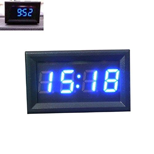TONSEE Car Motorcycle Accessory 12V/24V Dashboard LED Display Digital Clock(Blue)