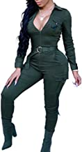 Women Sexy Bodycon Jumpsuits -Long Sleeve Skinny Pants Suit Set Playsuit Fall Club Outfits Green XL