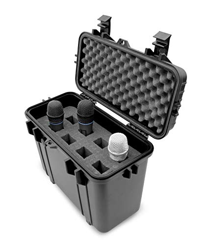 Casematix Wireless Microphone Hard Case – 8 Slot Mic Case Fits Sennheiser, Shure Mic, Audio-Technica Microphones and More Wireless Mic System Transmitter Receiver Microphones