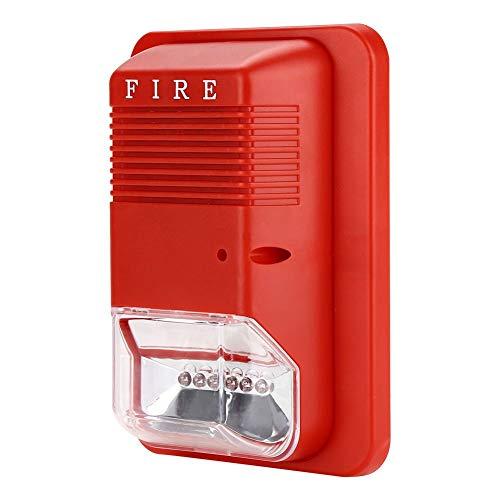 Alarma Incendio Luz Intermitente Alarma con Alarma Incendio Sonidos Sistema Seguridad Sensor para Hogar Oficina Hotel Protección contra incendios Sirenas
