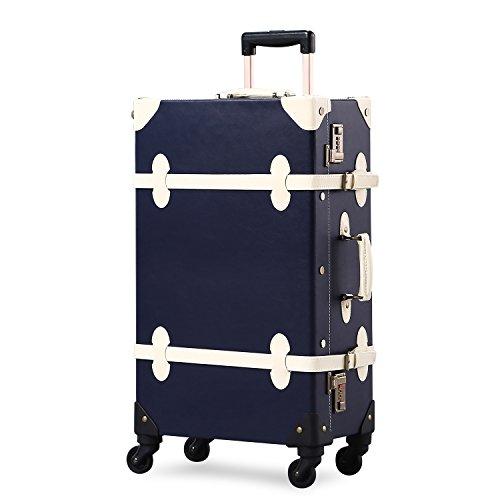 UNITRAVEL Suitcase Vintage Travel 72 Centimeters 55 Liters 4 Wheels Navy Blue Number Lock