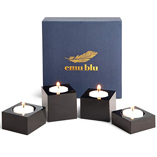 Crystal Candle Holders Black - Set of 4 Modern Tealights Votive Candle Holders for Table & Centerpiece Home Decor | Includes Satin Lined Gift Box
