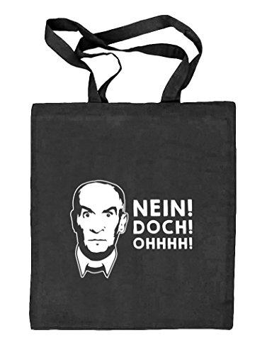 Shirtstreet24, NEIN! DOCH! OHHHH! Natur Stoffbeutel Jute Tasche (ONE SIZE), Größe: onesize,schwarz natur