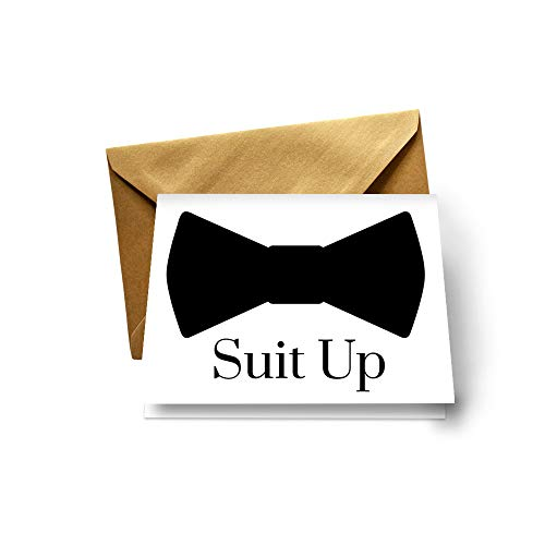 Suit Up Cards Groomsmen (8 Pack) Unique Ways to Ask My Best Man - Ushers - Father of Bride - Wingman - Ring Bearer - Wedding Attendandts Proposal Invites Set with Gold Envelopes